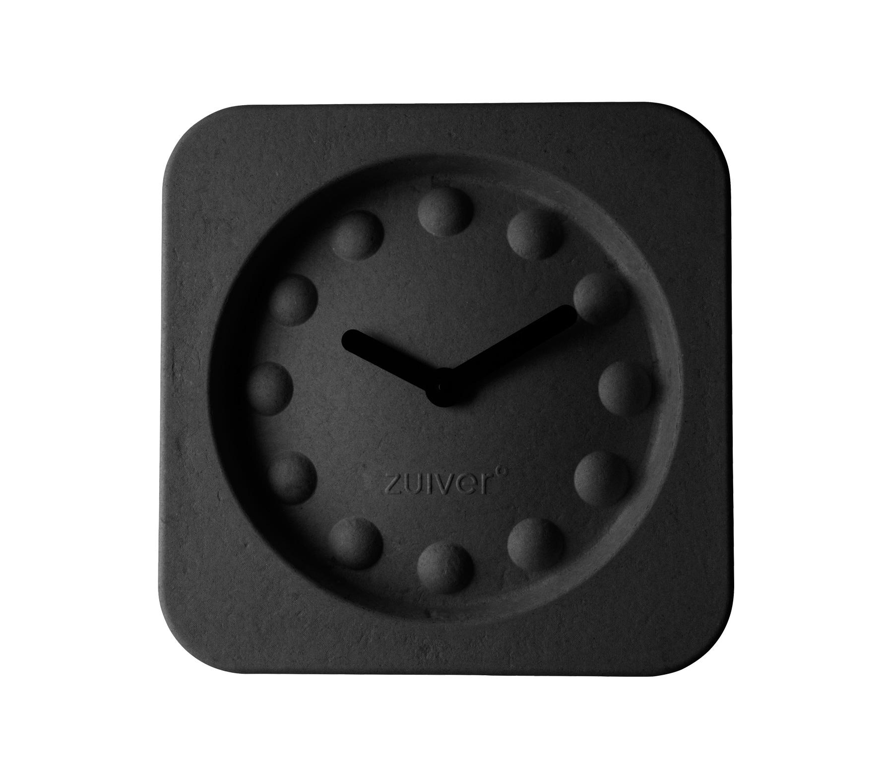 Zuiver Pulp Time wandklok zwart vierkant Zwart