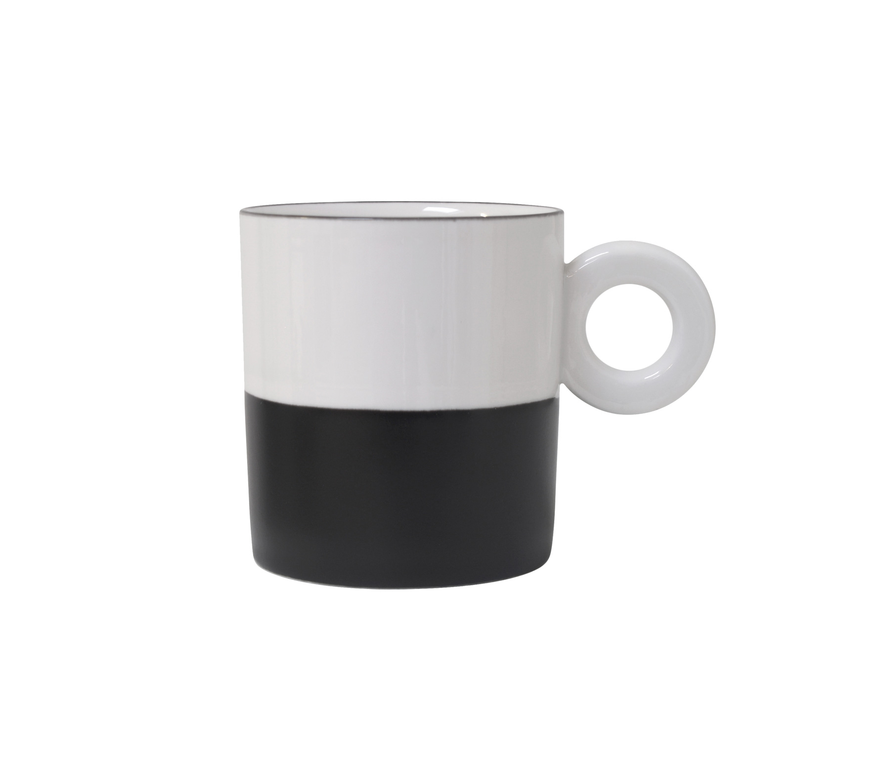 HKLiving Mok zwart wit porcelein Wit met zwart