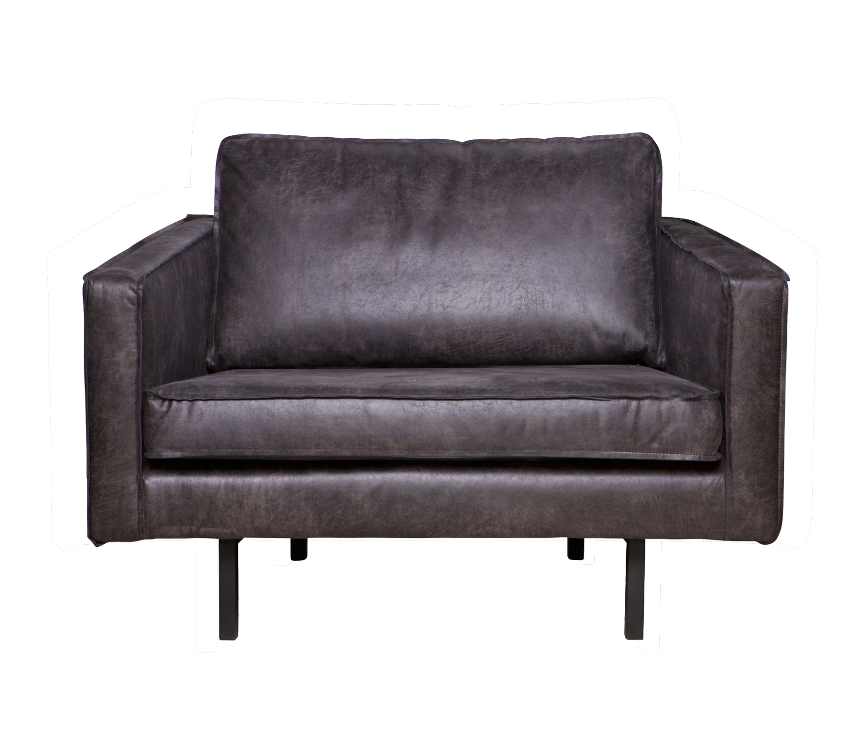 BePureHome Rodeo loveseat 1,5-zits fauteuil zwart recycle leer Zwart