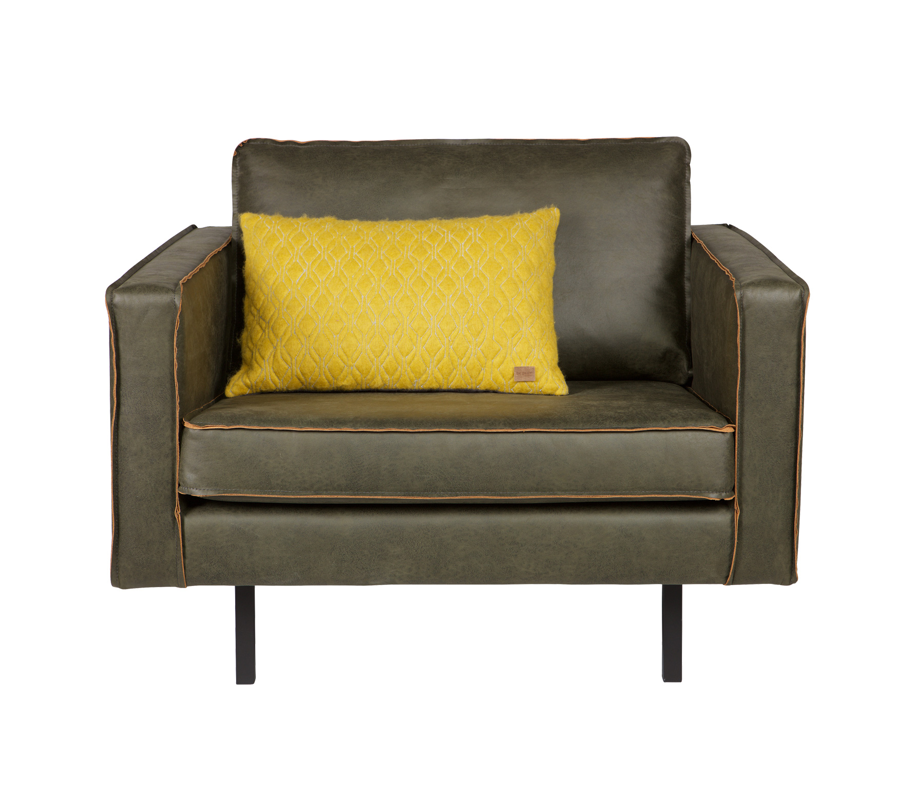 BePureHome Rodeo loveseat 1,5-zits fauteuil army recycle leer Army