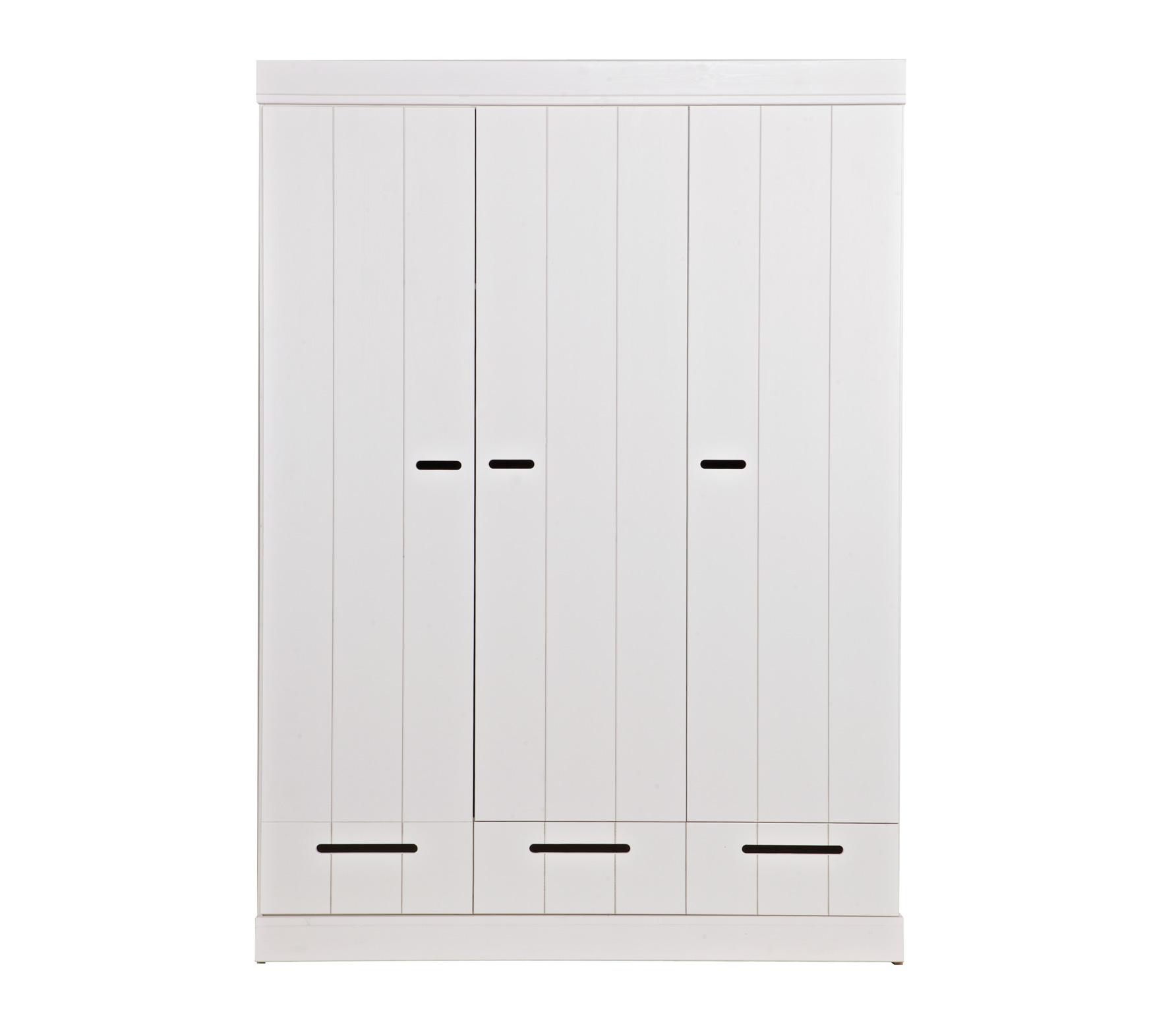 WOOOD Connect 3-deurs kast 195x140x53 cm met sleufgrepen Wit