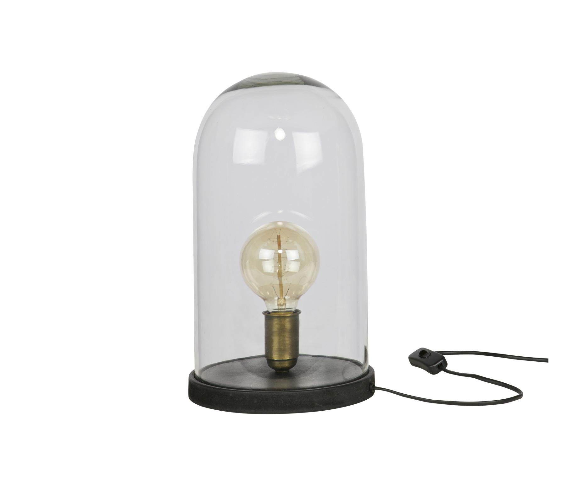 BePureHome Cover up tafellamp met glazen stolp Zwart