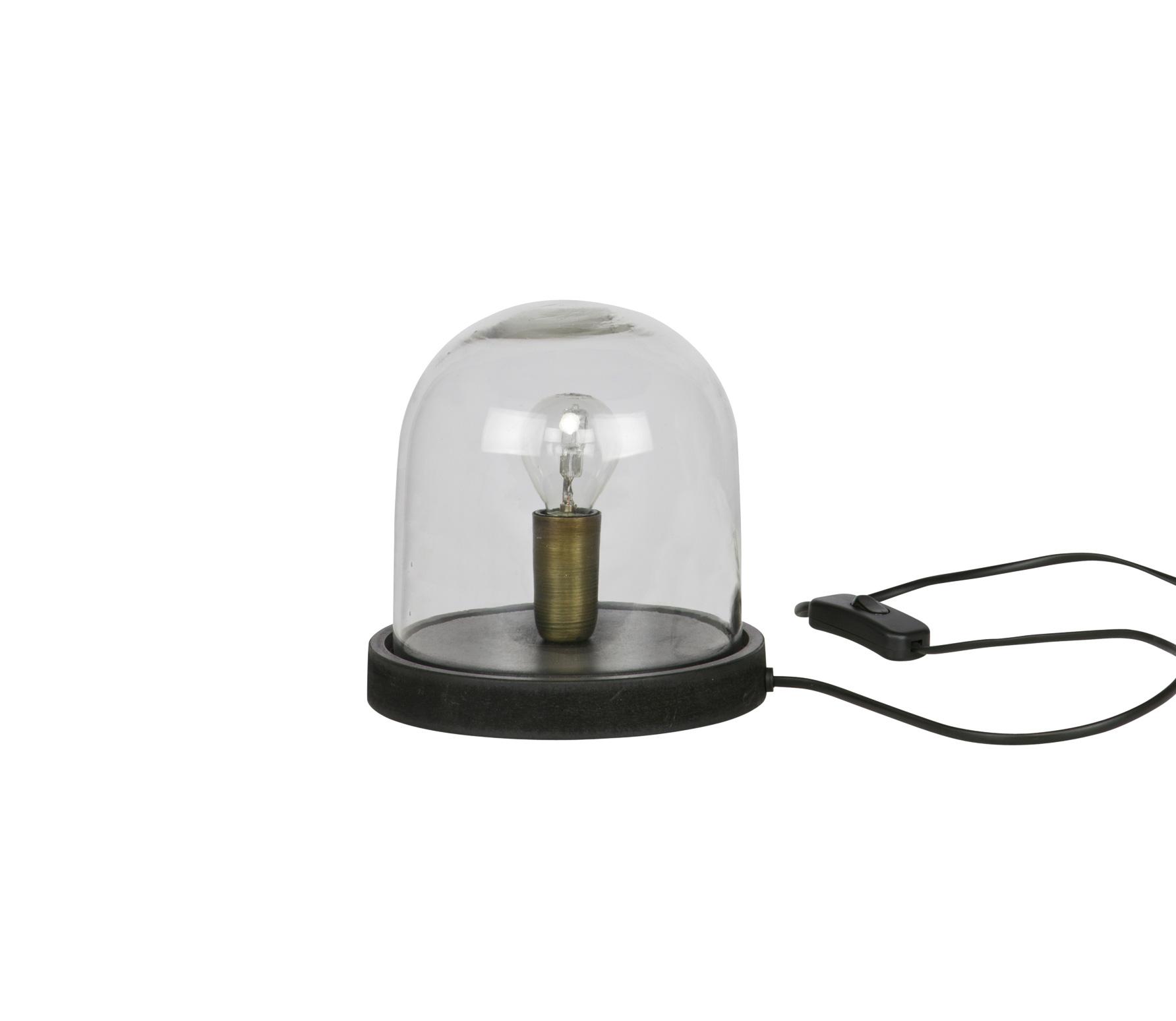 BePureHome Cover up too tafellamp met glazen stolp Zwart