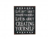 "Vintage metalen tekstbord ""Life isn't about finding..."" Metaal"