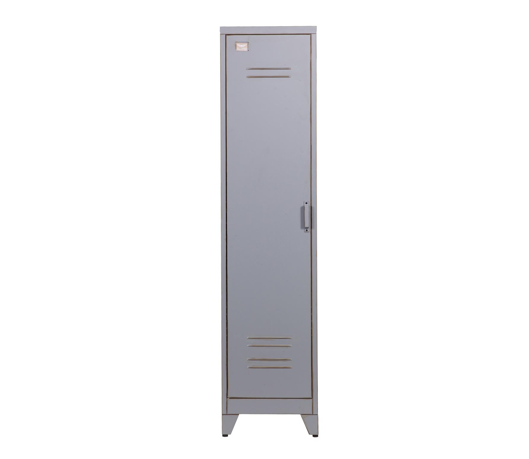 WOOOD Max lockerkast 1-deurs 182x43x50 cm vintage grijs metaal
