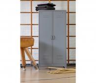 WOOOD Max lockerkast 2-deurs 182x85x50 cm vintage grijs metaal