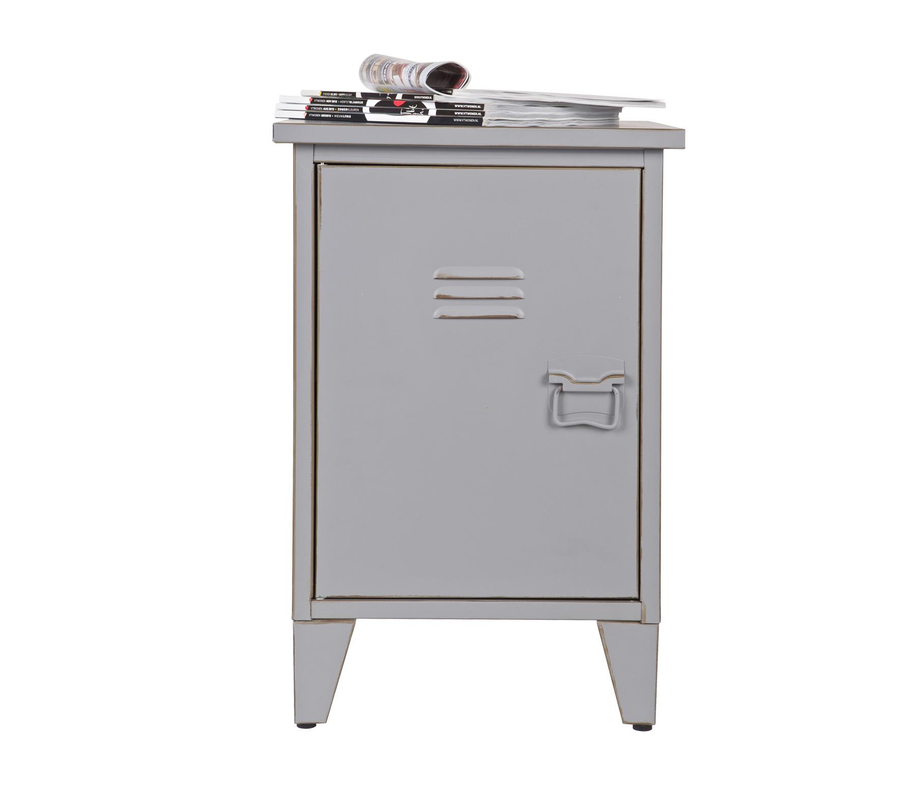 Woood max lockernachtkastje metaal vintage grijs wordt for Nachtkast lampje