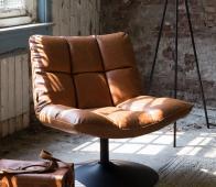 Dutchbone Bar loungefauteuil vintage bruin Cognac