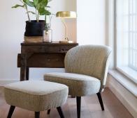 WOOOD Suze fauteuil warmgroen met patroon Warmgroen