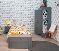 Donald Duck Wonen nachtkastje massief bezaagd grenen staalgrijs