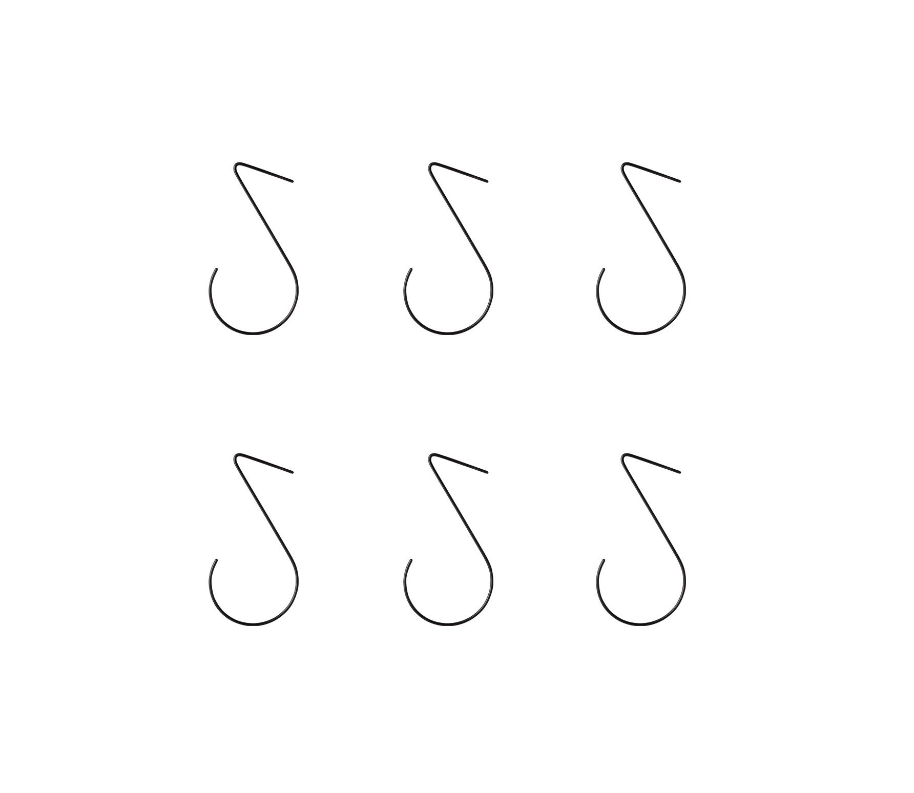 vtwonen Set van 6 haken zwart vrijstaand