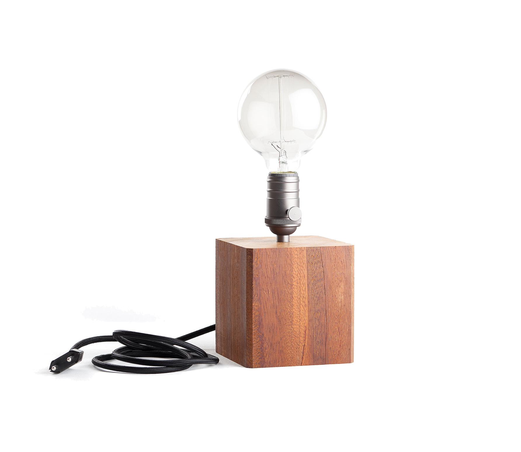 Industriële tafellamp hout incl lamp Hout