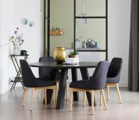 WOOOD Rhonda eettafel XL Ø150 Blacknight Massief eiken