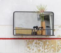 BePureHome Reflection spiegel met planchet  zwart vintage metaal