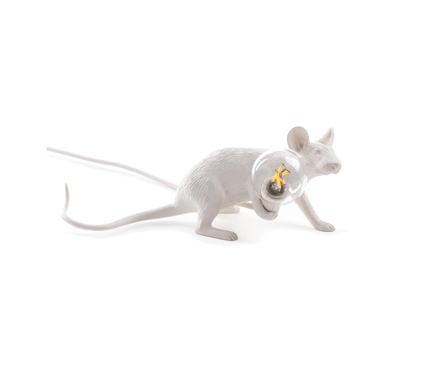 Seletti Mouse liggend tafellamp wit LIGGENDE MUIS LAMP WIT