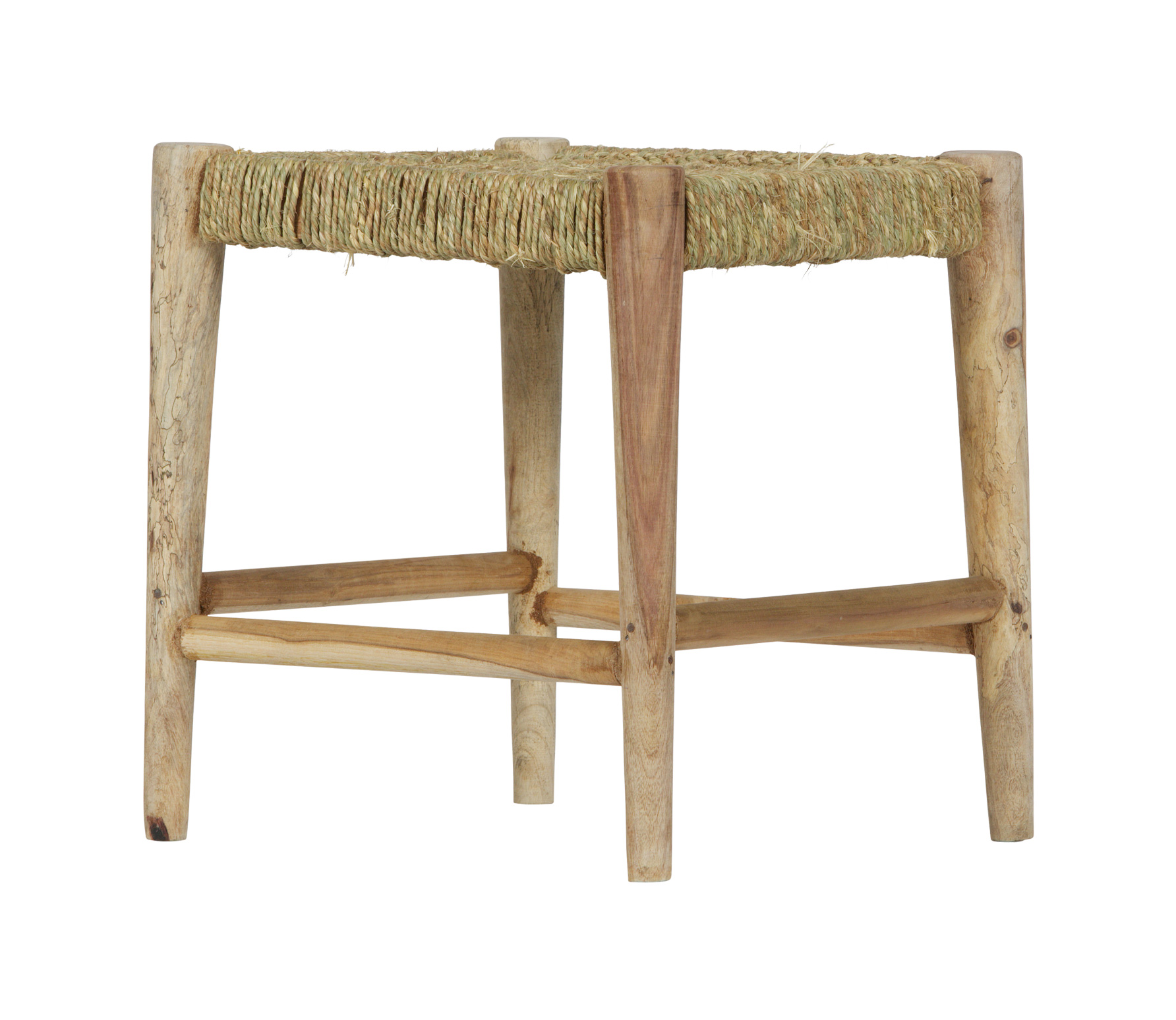 BePureHome Wicker kruk hout geweven touw naturel Wicker kruk naturel