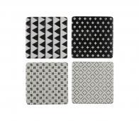 Basiclabel Coaster set van 4 onderzetters zwart wit aardewerk