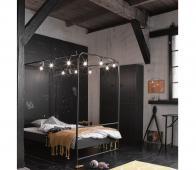 vtwonen Bunk hemelbed zwart metaal  90x200