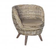 Bucket ronde fauteuil rotan naturel