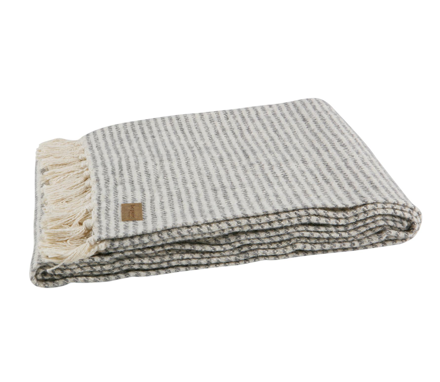 BePureHome Double plaid grijs wit gestreept katoen kopen
