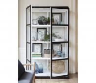 Display vitrinekast zwart-wit 186x50x110 cm  hout