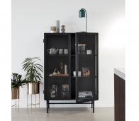 Cabinet zwart 150x100x45 cm  metaal