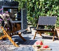 WOOOD Exclusive Lois (binnen-buiten) stoel zwart geweven naturel hout