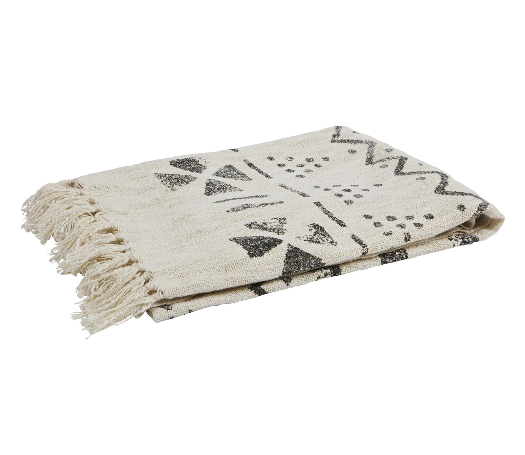 BePurehome Stamp plaid off white-grijs katoen