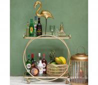 Riverdale Amaro dranktafel/bijzettafel goud  metaal/glas