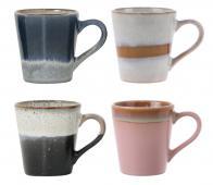 HKLiving set van 4 espresso mokken 70's  keramiek