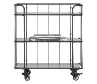 WOOOD Caro trolley 84x75x42 zwart  metaal grenen