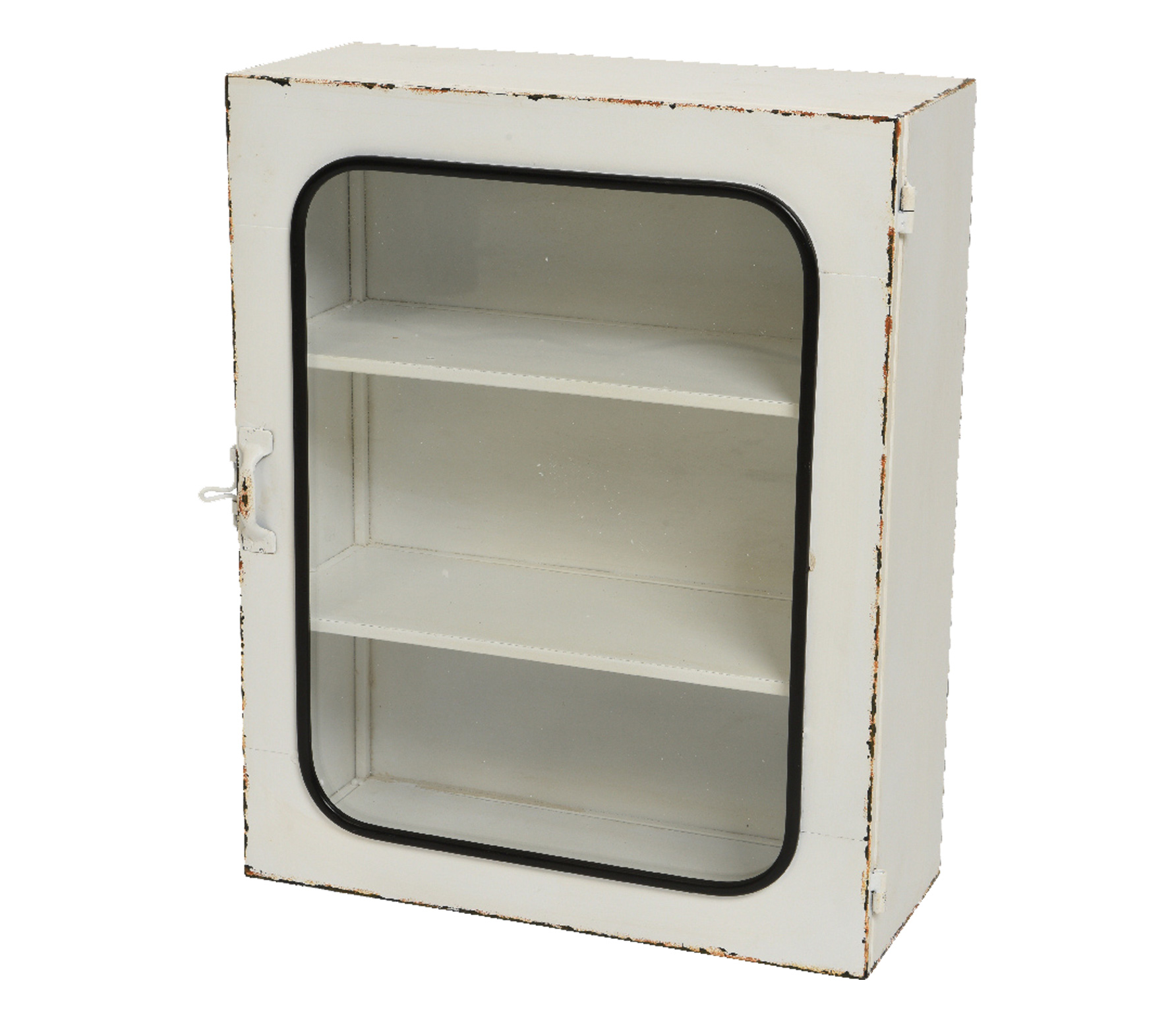 Wandkast metaal met glazen deur wit