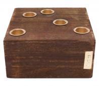 vtwonen Kandelaar blok vierkant 15x15 cm bruin