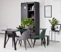 WOOOD Triomf eettafel mat zwart 210 x 77 cm hout metaal