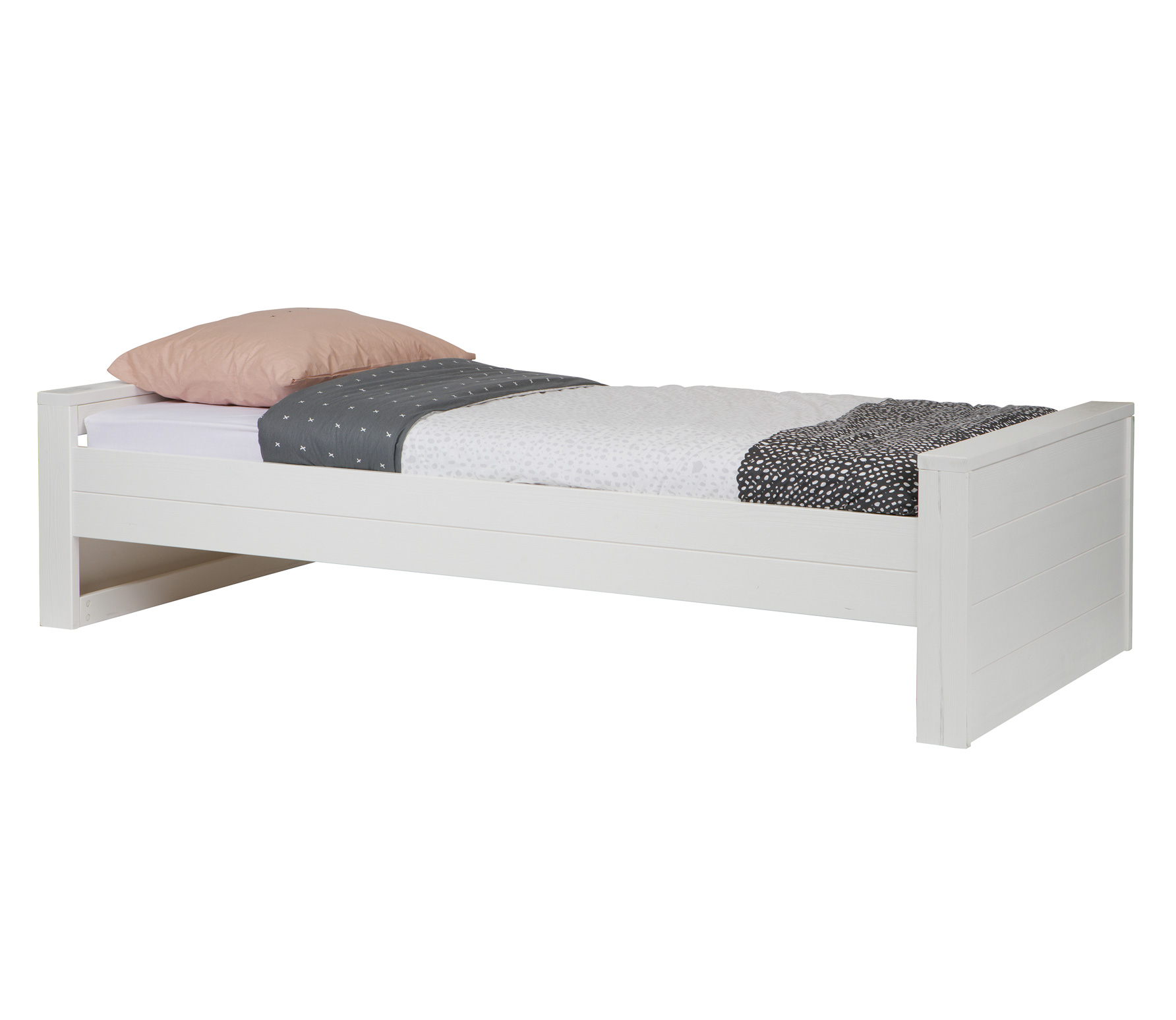 WOOOD Robin bed wit geborsteld grenen Bed excl lade