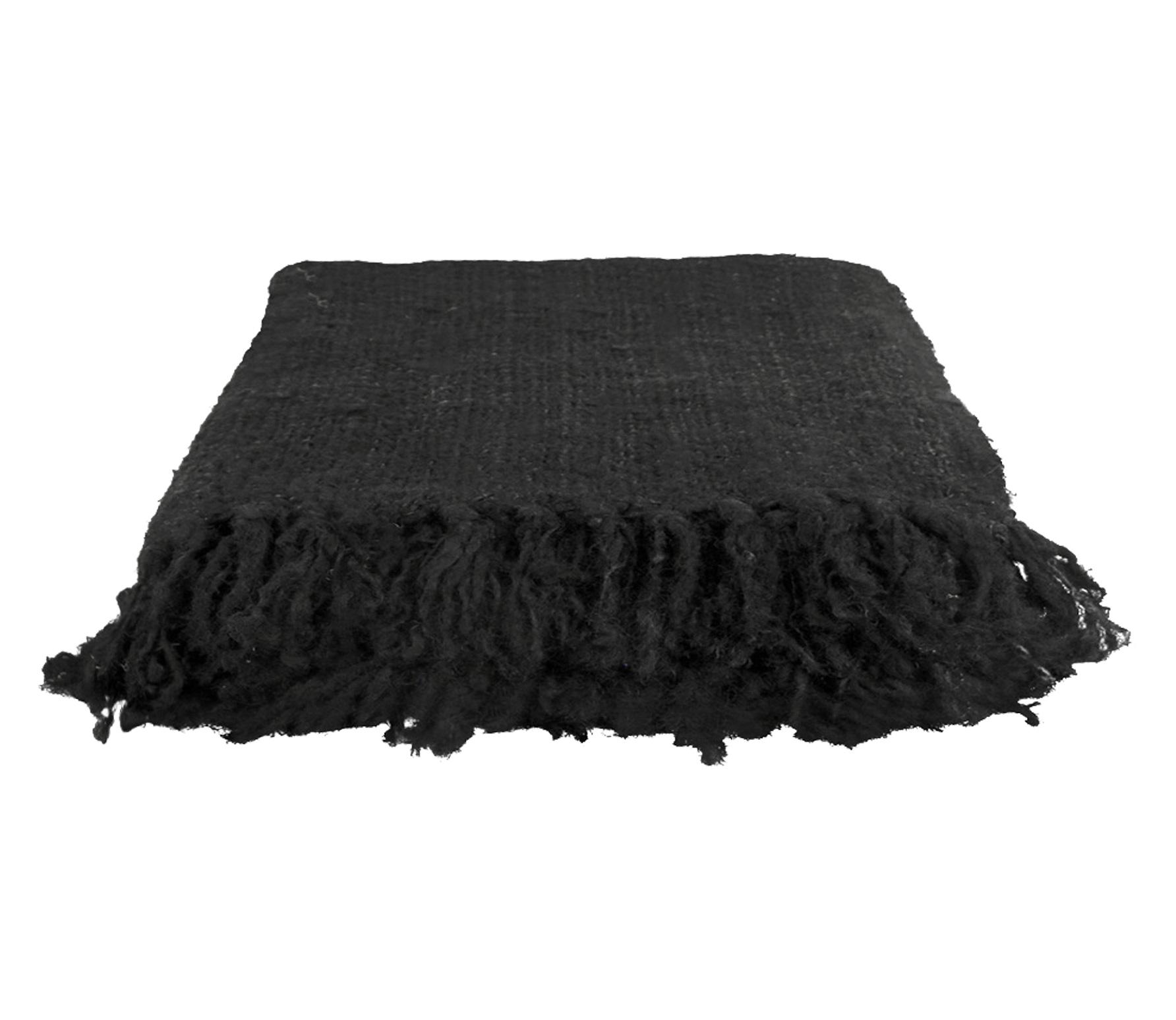 Throw plaid handgeweven katoen zwart kopen